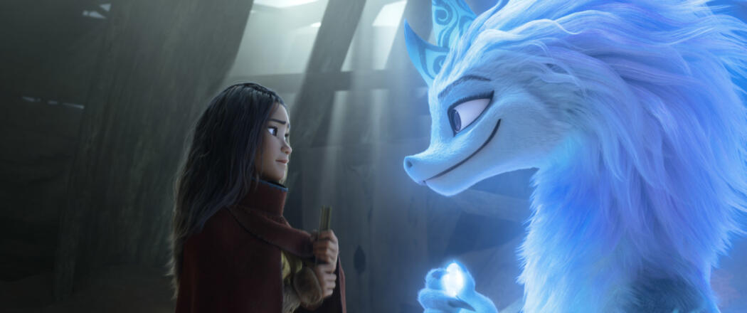 Raya seeks the help of the legendary dragon, Sisu. Seeing what's become of Kumandra, Sisu commits to helping Raya fulfill her mission in reuniting the lands. (Credit: Disney)