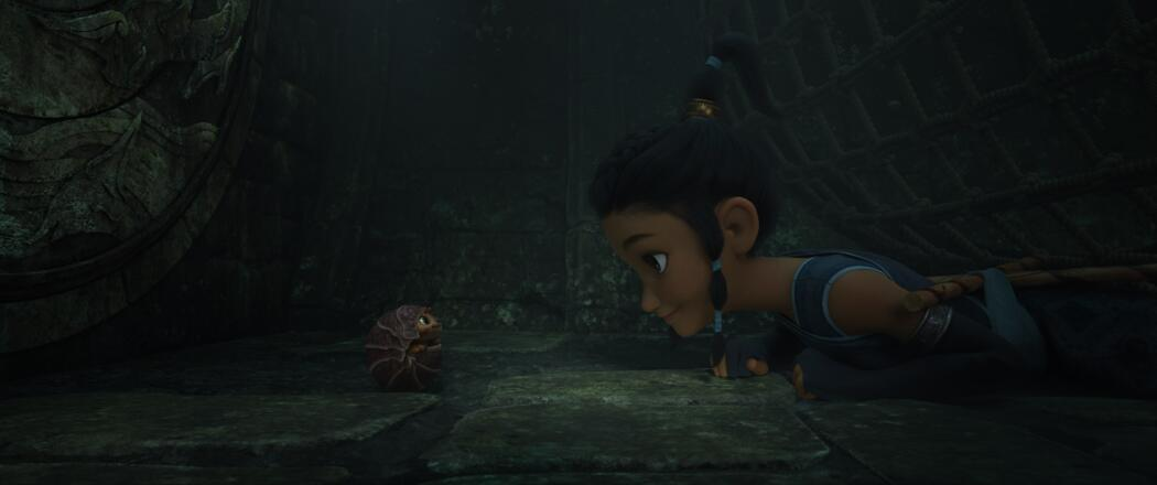 Raya and her best friend, Tuk Tuk, have always teamed up for adventure. When they are grown and their world is threatened, they journey together through the Lands of Kumandra to find the legendary last dragon and save the kingdom. (Credit: Disney)